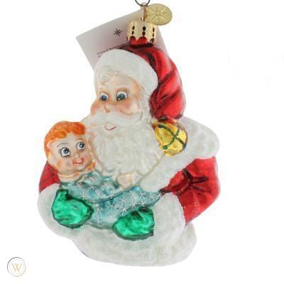 Christopher Radko Onesie Twosome Baby Santa Pediatric Cancer  Ornament