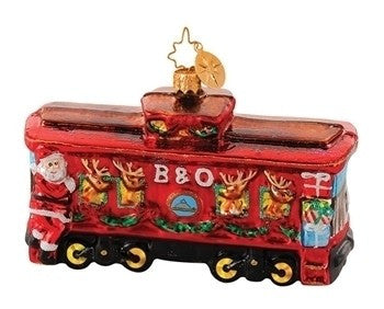Radko B & O Railroad Train #12 Cool Yule Reindeer Caboose Ornament