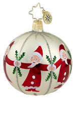 "Radko CIRCLE OF SANTA   4"" Ball Christmas ornament NEW"