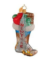 Radko CITY SOCK Yew York Stocking State Ornament NEW Sale!