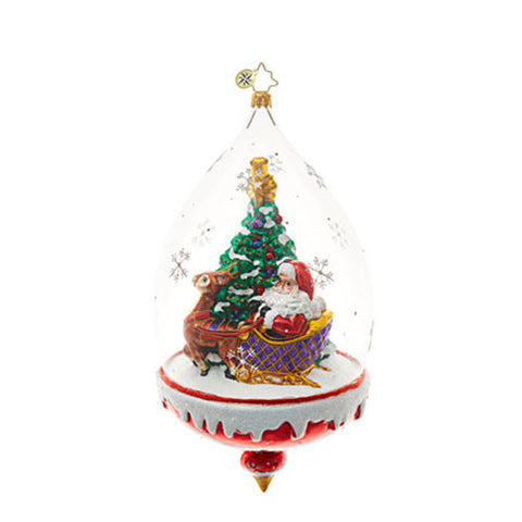 Christopher Radko CLEAR SLEDDING AHEAD Santa Sleigh Dome Ornament NEW