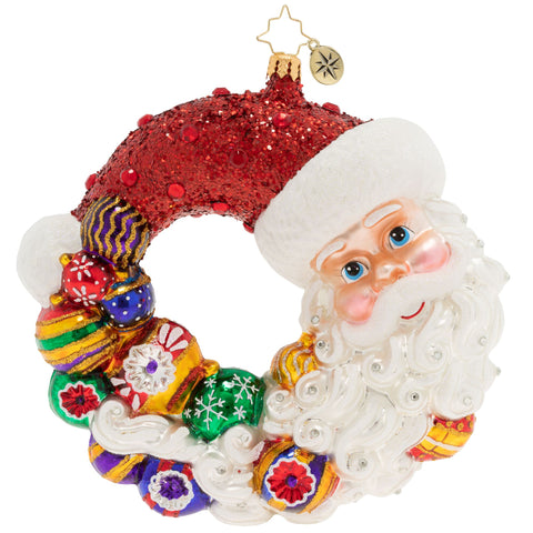 Christopher Radko Santa Comes Full Circle Wreath Ornament