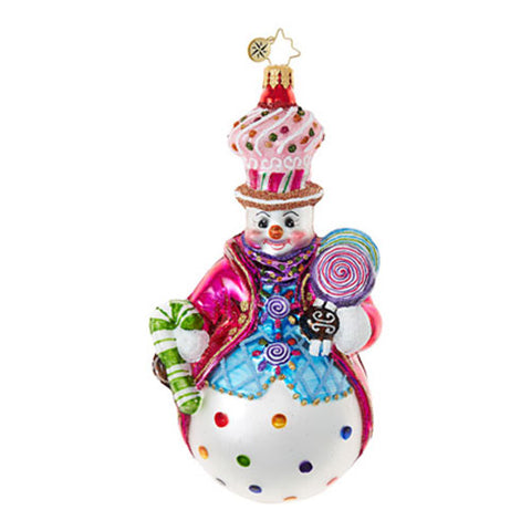 Radko COULDN'T BE SWEETER Snowman Candy Ornament New 2017