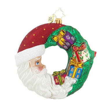 Radko CRESENT CHRISTMAS PRESENTS Santa Moon ornament NEW