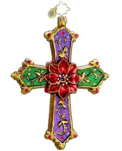 Radko CHRISTMAS CROSS Poinsettia Christmas ornament NEW