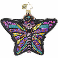 Radko DEADLY BEAUTIFUL Butterfly Skull ornament New RETIRED