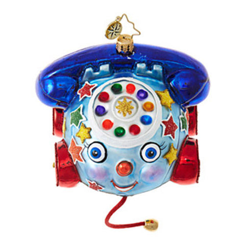 Christopher Radko DIAL UP SOME FUN Pull Toy Phone Ornament New