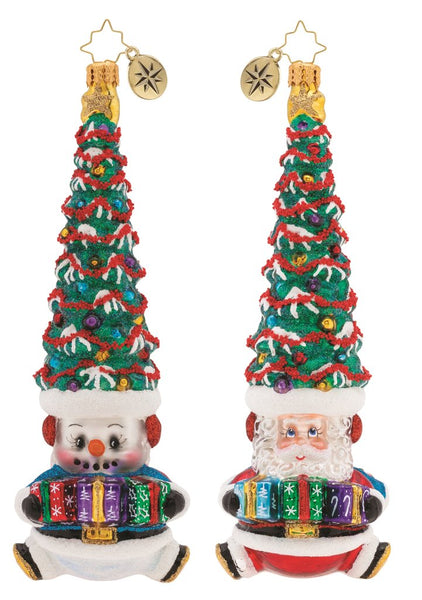 Christopher Radko Double Trouble Santa Snowman 2-faced Ornament