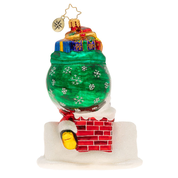 Christopher Radko Down The Hatch Santa Rooftop Ornament