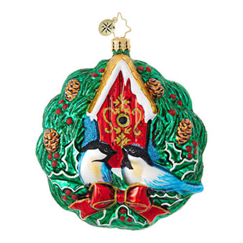 Christopher Radko Evergreen Wreath Love Birds ornament