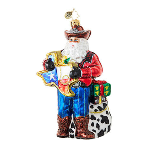 Christopher Radko Everything's Bigger in Texas Santa Ornament NEW