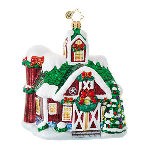 Christopher Radko FARM FIESTA Barn Village Ornament NEW