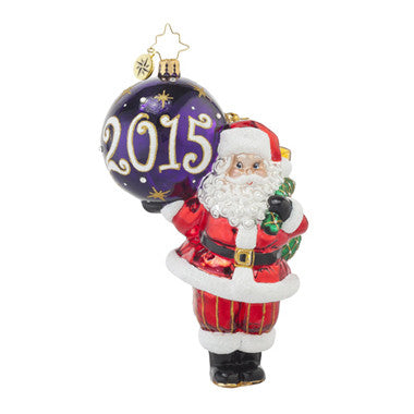 Christopher Radko Dated 2015 MY FAVORITE YEAR Santa Ornament