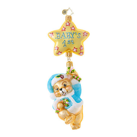 Christopher Radko Baby FIRST THINGS FIRST Christmas Ornament Blue