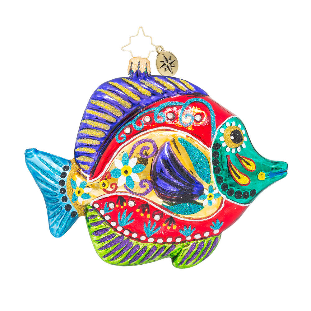 Christopher Radko FISH with a Flourish Fiesta ornament NEW