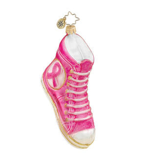 Christopher Radko FIT FOR WALKIN Pink Ribbon Shoe ornament