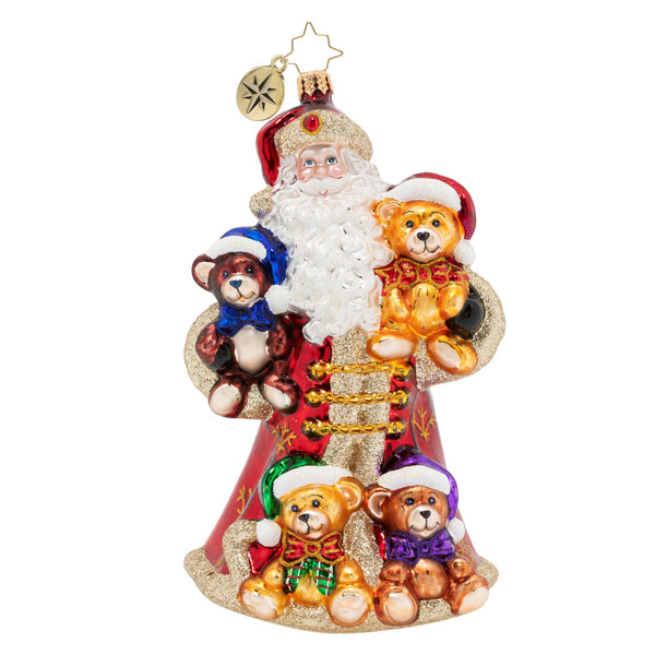 Christopher Radko Flush With Plush Teddy Bear Santa Ornament