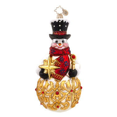 Radko FROSTY  FINIAL Snowman with Gold Star ornament New