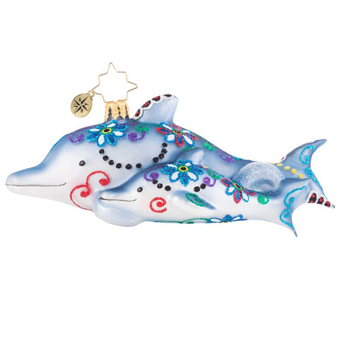 Christopher Radko Swimming Through Florals Dolphin Ornament