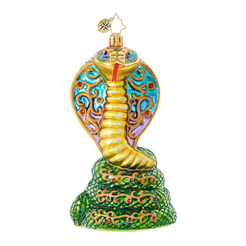 Christopher Radko GILDED COBRA Snake Ornament New
