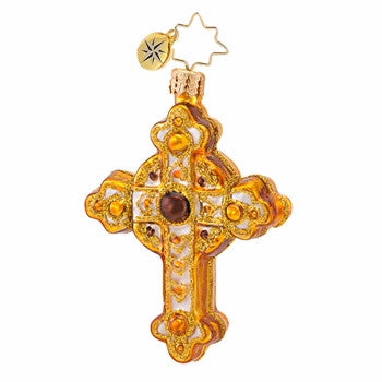 Radko LITTLE GEMS Golden Rood Cross ornament NEW