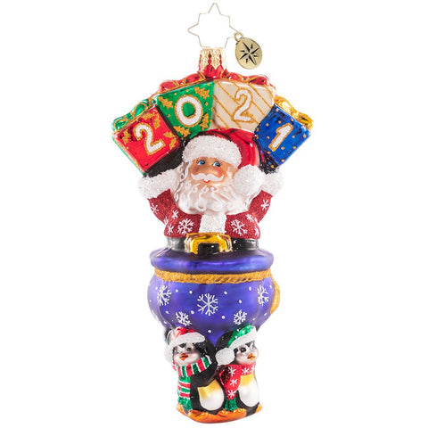 Christopher Radko 2021 Dated Powerlifting Penguins & Santa Ornament