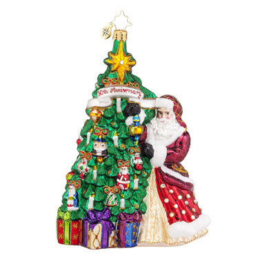 Christopher Radko 30th Annv Hanging with Joy Santa Ornament