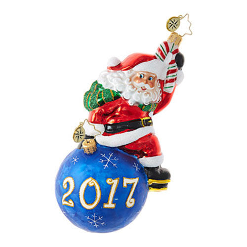 Radko 2017 Dated HAVING A BALL Santa Christmas Ornament NEW 1018701