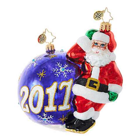Christopher Radko Dated 2017 HAVING A BALL Santa Ornament