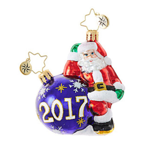 Christopher Radko Dated 2017 HAVING A BALL Santa Gem Ornament New
