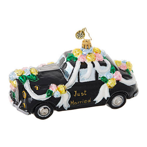 Christopher Radko Heading to the Chapel Wedding Car Ornament