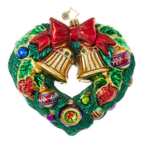 Christopher Radko Heart Shaped Wreath Christmas ornament NEW