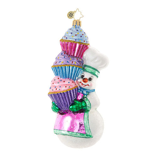 Radko HEY CUPCAKE Snowman Sweets Ornament New