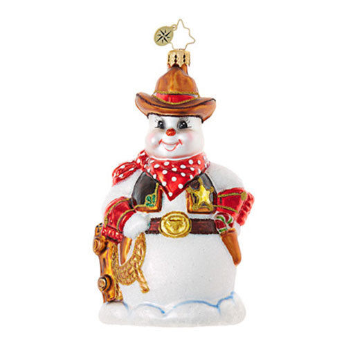 Radko HI FALOOTIN SHERIFF Cowboy Snowman Ornament  New RETIRED