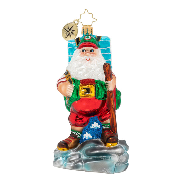 Christopher Radko Holiday Hiker Santa Ornament