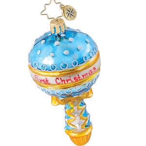 Christopher Radko Baby HOLIDAY SHAKE UP First Blue Rattle Gem ornament