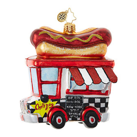 Christopher Radko HOT DIGGITY DOG Food Truck Ornament New