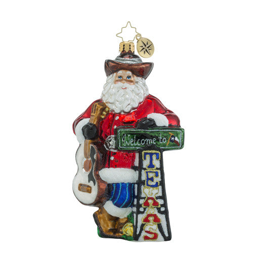 Radko Howdy Ya'll Texas Santa Christmas Ornament NEW