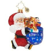 "Christopher Radko Baby 1st Hurry Santa 3"" Gem Ornament"