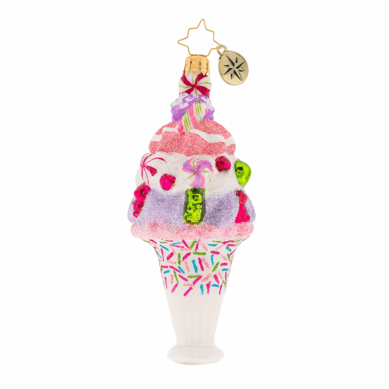 Christopher Radko I Scream You Scream Ice Cream Ornament