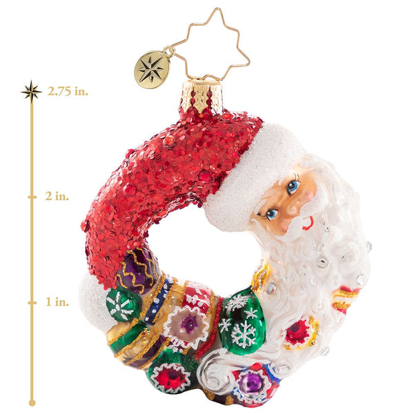 Christopher Radko Santa Comes Full Circle Wreath Gem Ornament
