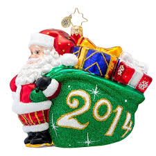Christopher Radko DATED 2014 Jolly Year Santa Ornament