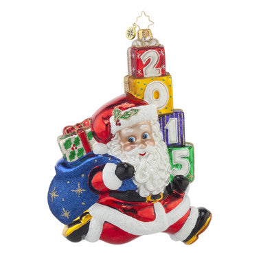 Christopher Radko DATED 2015 Jolly Leaping Santa LARGE ornament