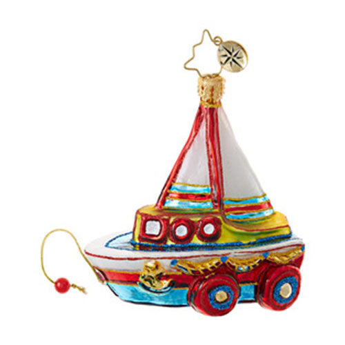 Radko Little Gems JUST ADD WATER Sail Boat ornament NEW
