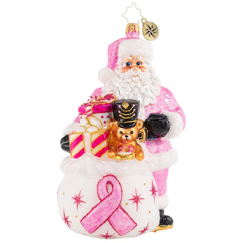 Christopher Radko Poised In Pink Breast Cancer Santa Ornament