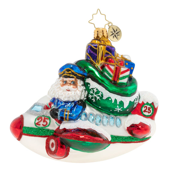 Christopher Radko Leaving On A Jet Plane Airplane Santa Ornament
