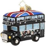 Christopher Radko Beatles Let It Be Christmas Double Decker Bus Ornament
