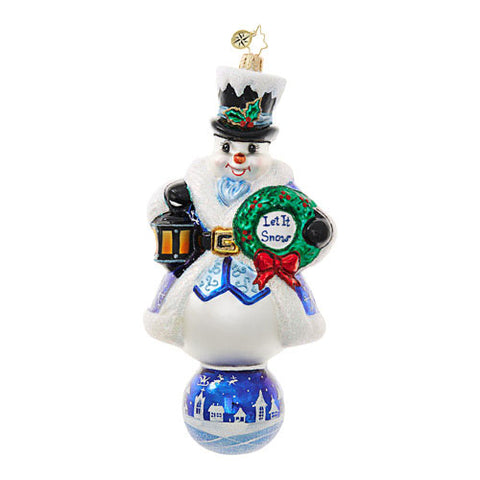 Radko LET IT SNOW Snowman Blue Limited Edition ornament NEW