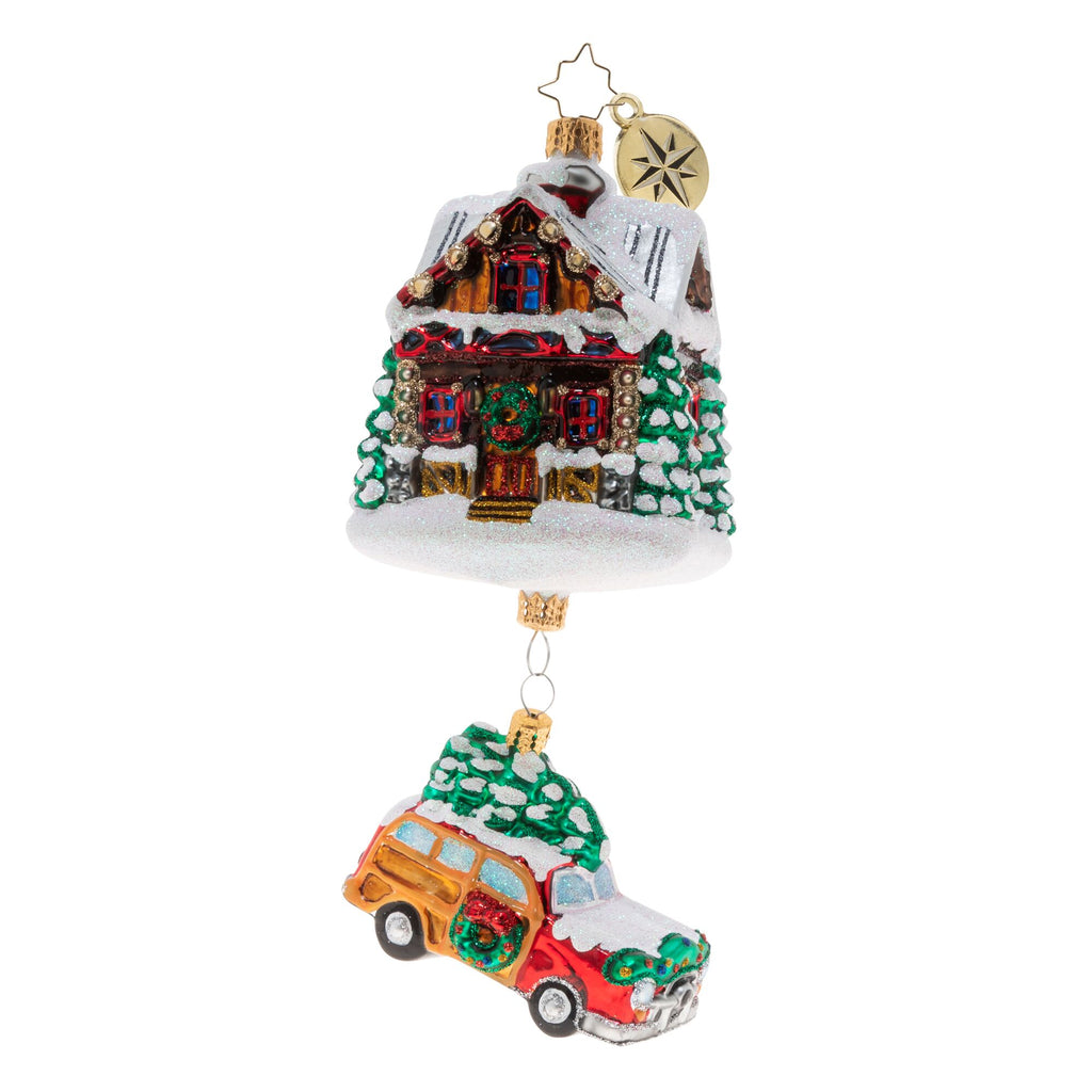 Christopher Radko Lincoln Log Lane Cabin & Family Car Ornament