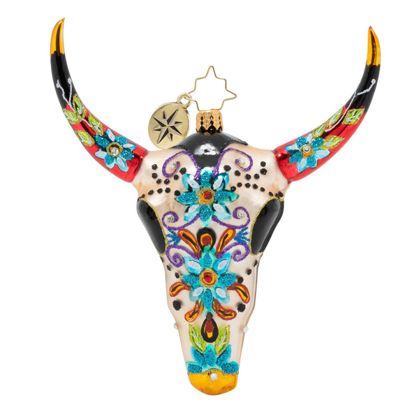 Christopher Radko Sugar Skull Bull Day of the Dead Longhorn Ornament